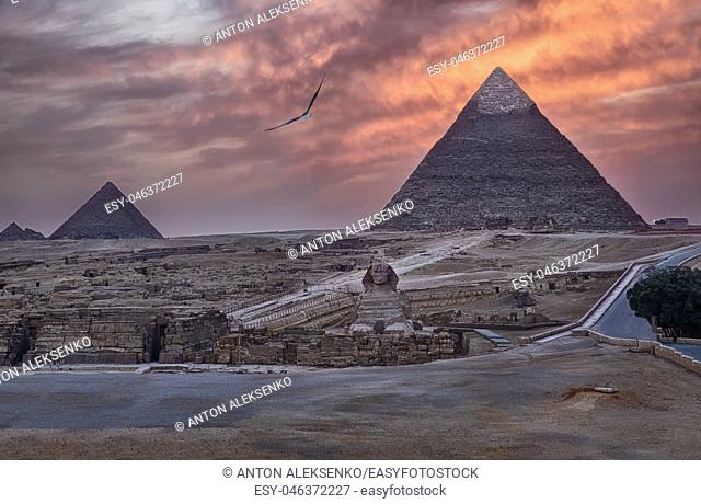 The Pyramids of Giza and the Sphinx at sunset, Egypt