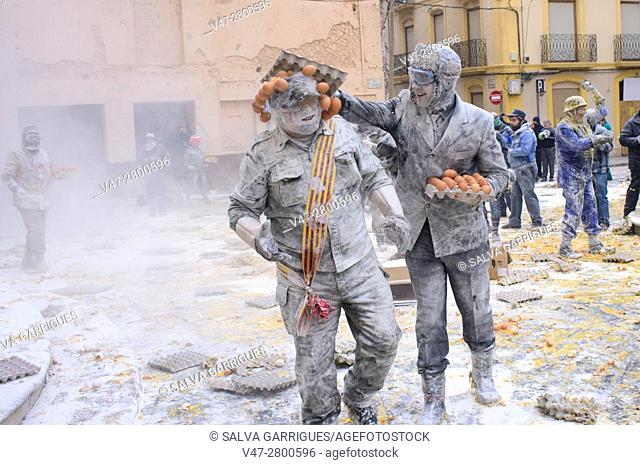 The party of Els Enfarinats (The floured ones), The inhabitants of Ibi make a war with eggs and firecrackers every December 28, Alicante, Valencia, Spain