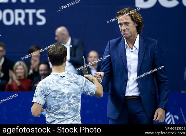 Argentina's Diego Schwartzman and former tennis player and tournament director Dick Norman pictured after a tennis match between Italian Sinner and Argentinian...