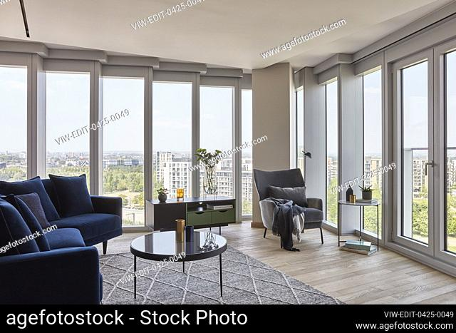 Apartment living room. The Stratford, London, United Kingdom. Architect: Skidmore Owings & Merrill, Inc., 2019