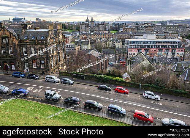 Johnston Terrace street seen from esplanade of Castle in Edinburgh, the capital of Scotland, part of United Kingdom, George Heriots School on background