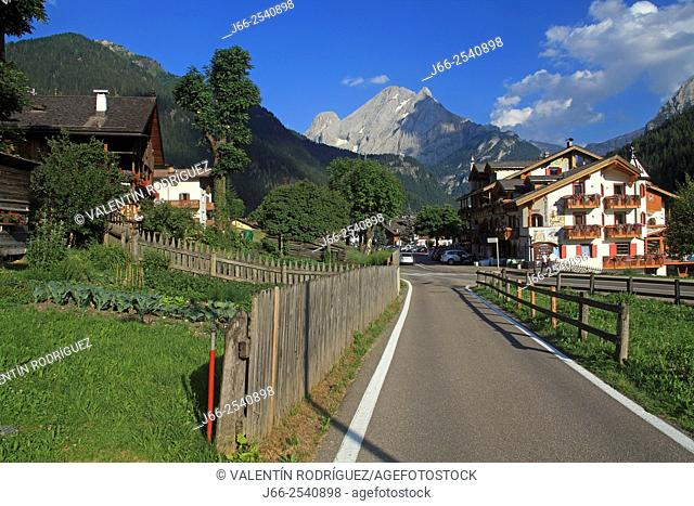 Street in Canacei, in the Fassa valley. Italians Alps. Italy