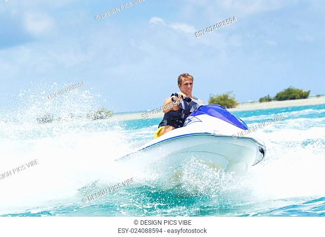 Man on Jet Ski having fun in Ocean