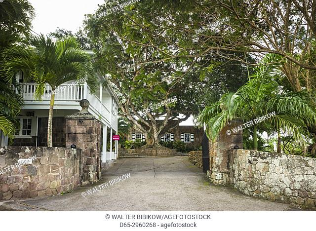 St. Kitts and Nevis, Nevis, Cole Hill, Montpelier Plantation Inn, former sugar plantation, entrance gate