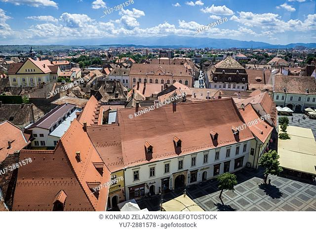 Aerial view from Council Tower on a historical buildings on Large Square (with Weidner-Reussner-Czekelius House) of Historic Center of Sibiu, Romania