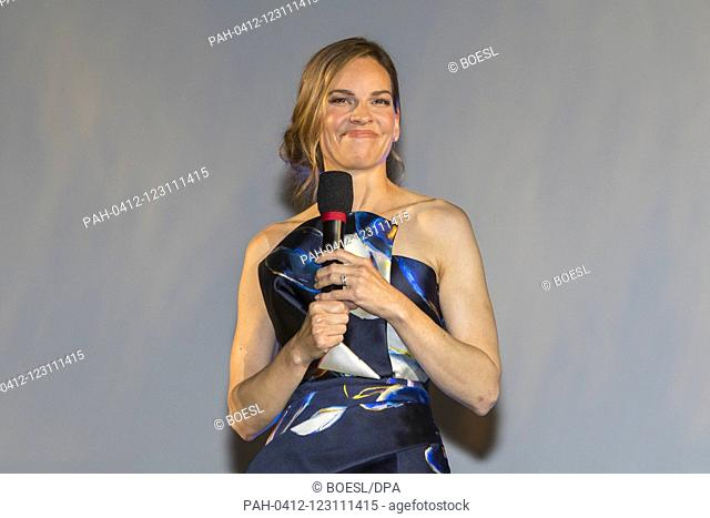 Hilary Swank recieves the Leopard Club Award at the premiere of '7500' during the Film Festival at Piazza Grande in Locarno, Switzerland, on 09 August 2019