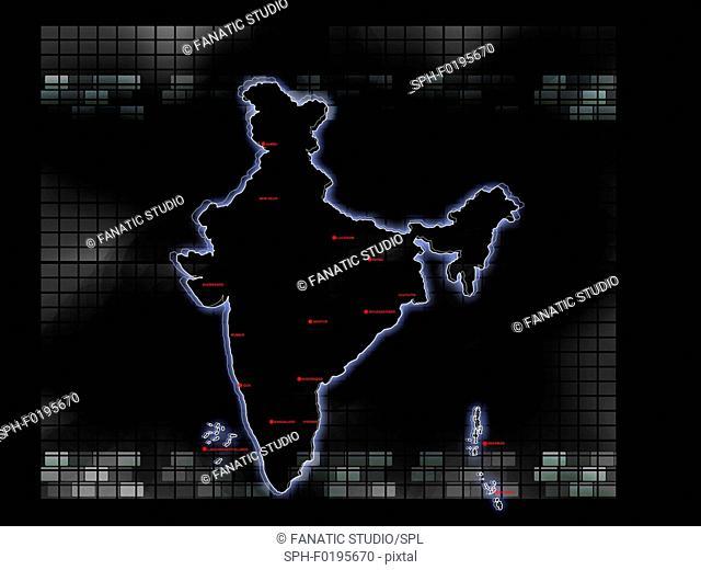 Map of India, illustration