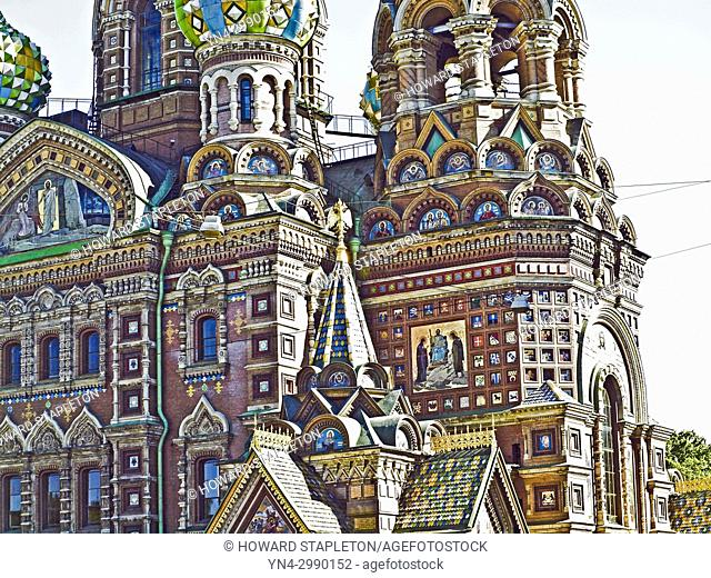 Facade detail of the Church of the Resurrection of Jesus Christ, a Russian Orthodox church in St. Petersburg, Russia. Commonly known as Church of the Saviour on...