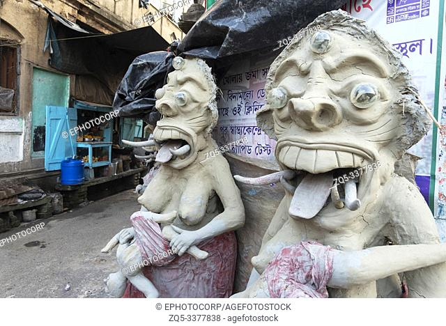 Clay idols in its early stages at Kumartuli in Kolkata, India