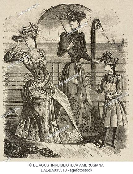 Women's summer fashion, illustration from Il Secolo Illustrato della Domenica, Year II, No 38, June 22, 1890