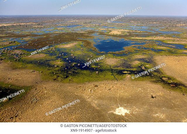 Aerial View of the Okavango Delta, Botswana