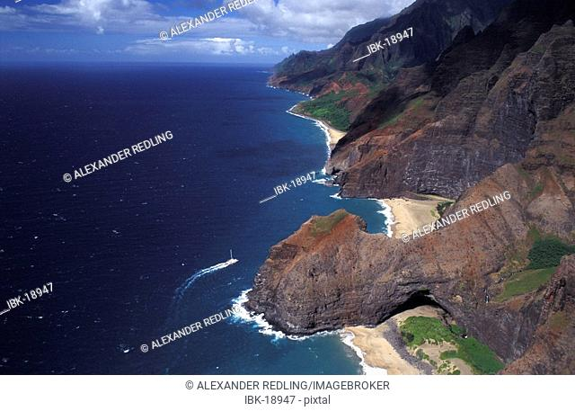 Aerial Photo Na Pali Coast Hawaii