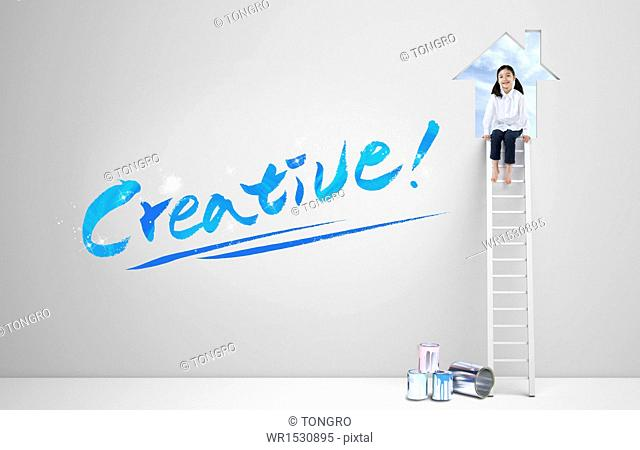 a girl next to the word creative