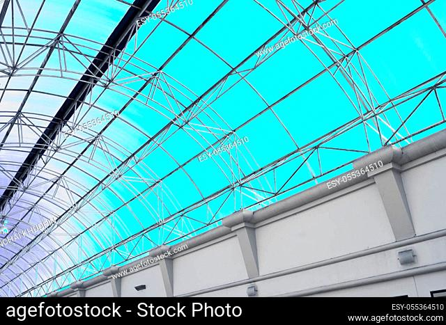 Modern Architectural Skylight Structure from Indoor hotel bule roof Building