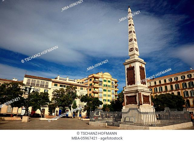 Spain, Andalusia, Malaga, Stele at the Plaza de la Merced