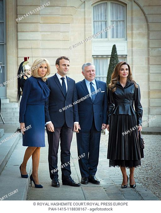 Their Majesties King Abdullah II and Queen Rania with President Emmanuel Macron, and Mrs. Brigitte Macron during a visit to Paris, on March 29, 2019