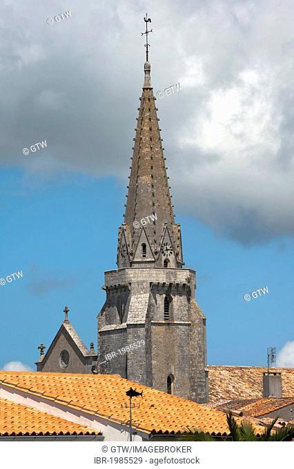 Bell tower, Parish Church Notre Dame de l'Assomption, Sainte Marie, Ile de Re island, Departement Charentes Maritime, France, Europe