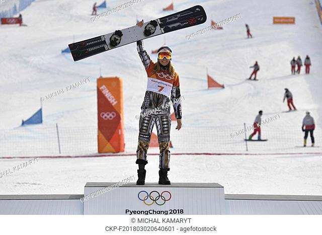 Czech Republic's Ester Ledecka, 22, a double gold medalist, won the gold medals in the Super-G in alpine skiing and in the parallel giant slalom (pictured) in...