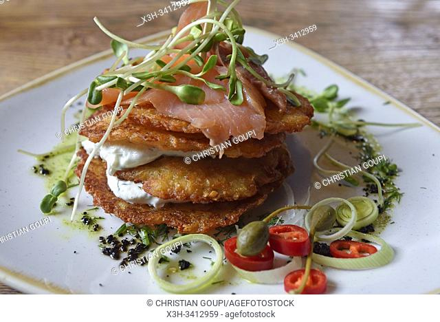 potato pancakes with smoked salmon and curd, Grey restaurant, Pilies Street 2, Vilnius, Lithuania, Europe