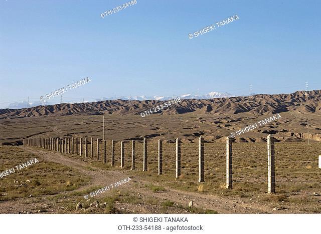 Overlooking Qilian mountains at Gobi desert, Jiayuguan, Silkroad, China
