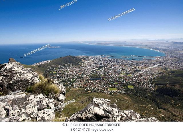 View of the city of Cape Town from Table Mountain, South Africa, Africa