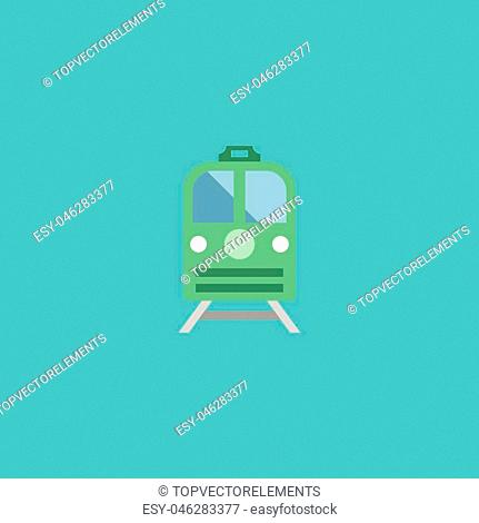 Flat Icon Electric Train Element. Vector Illustration Of Flat Icon Metro Isolated On Clean Background. Can Be Used As Train, Subway And Electric Symbols