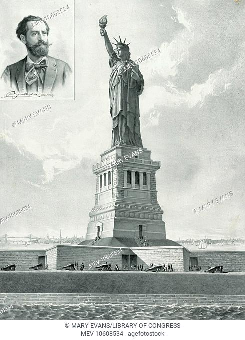 The Bartholdi Statue--Bedloe's Island, New York Harbor--Presented to the United States by citizens of France. The Statue of Liberty with inset portrait of...