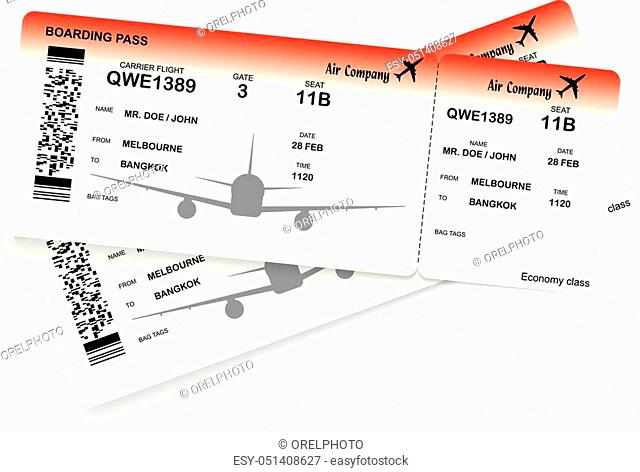 Red airplane ticket. Boarding pass ticket template. Vector illustration