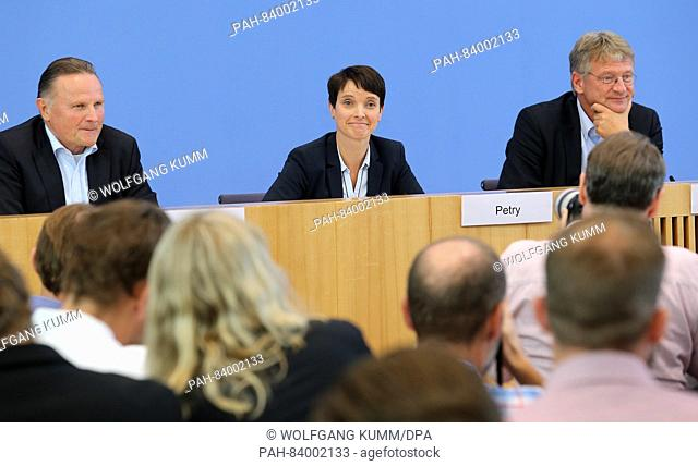 AfD prime candidate in Berlin, Georg Pazderski (l-r) and AfD party leaders Frauke Petry and Joerg Meuthen answer questions at a press conference in the wake of...