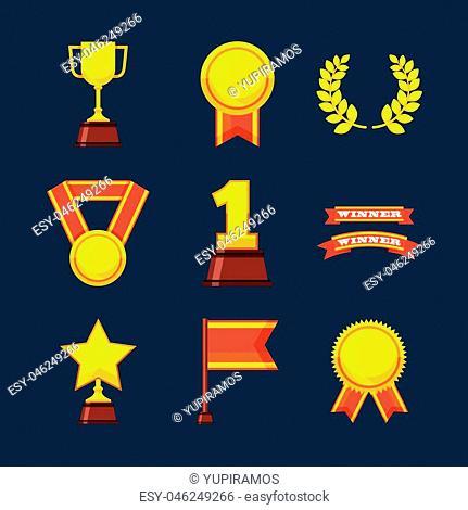 set awards championship icons vector illustration design