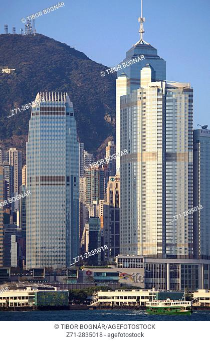China, Hong Kong, Central district, skyline, Victoria Peak,