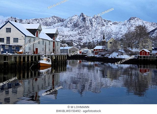 winter morning at Kabelvag, Norway, Lofoten Islands, Vagan, Kabelvag