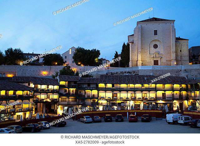 Plaza Mayor with Converted Bullring and Balconies, Church of Asuncion (background), Evening, Chinchon, Spain