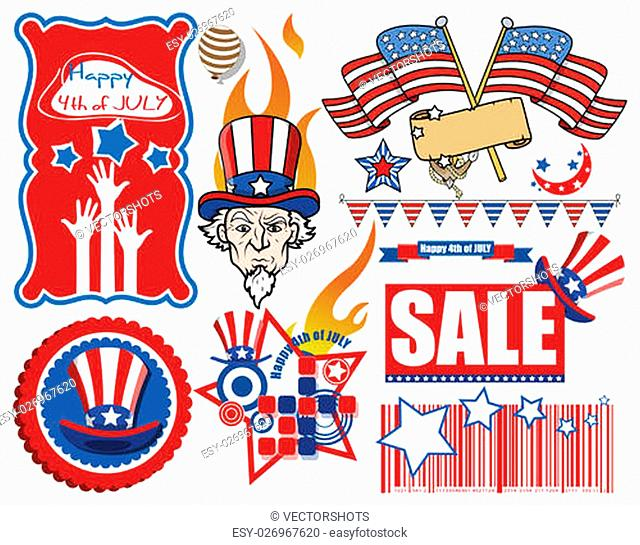 pack of various happy 4th of july vector Illustration