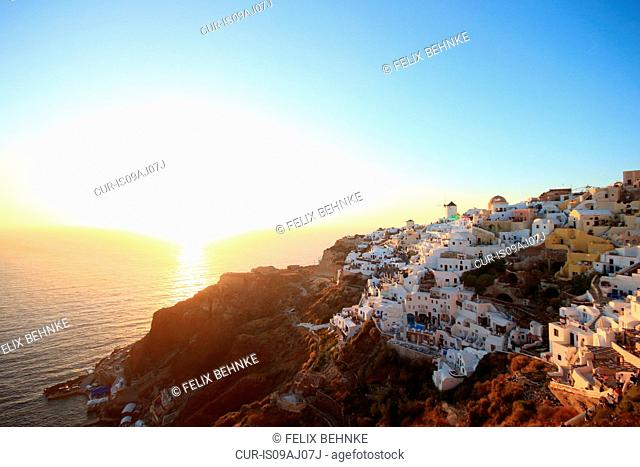 Oia town at sunset, Santorini, Cyclades Islands, Greece