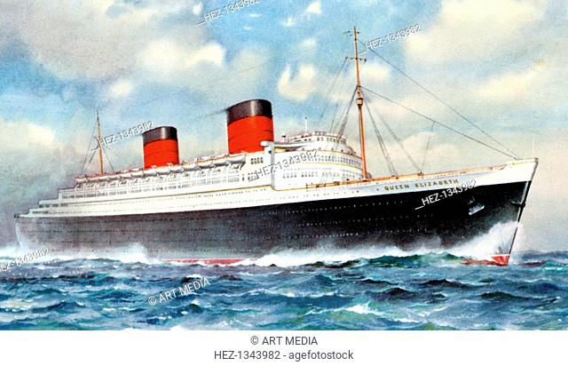 RMS 'Queen Elizabeth', Cunard ocean liner, 20th century. Built by John Brown & Co at Clydebank, the Queen Elizabeth was the world's largest ocean liner when she...