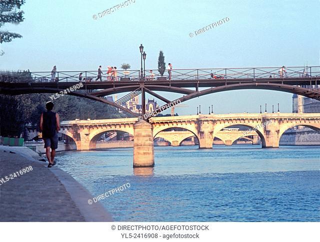Paris, France - Seine River, Pont des Arts Bridge with Pont Neuf, From Quai du Louvre