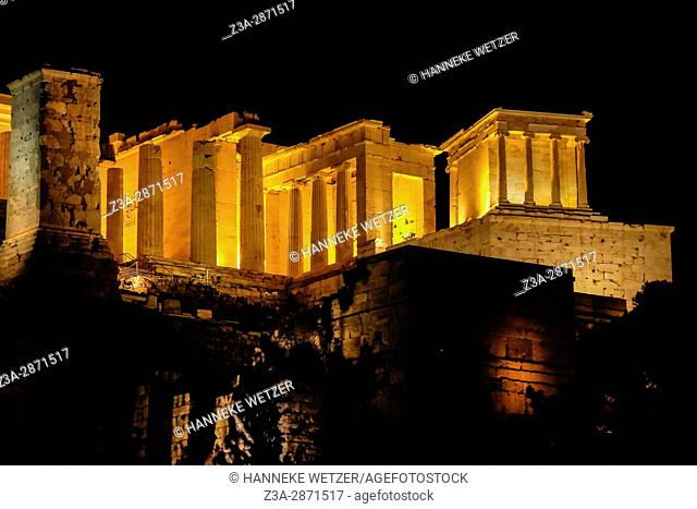 Nightview on the Acropolis in Athens, Greece