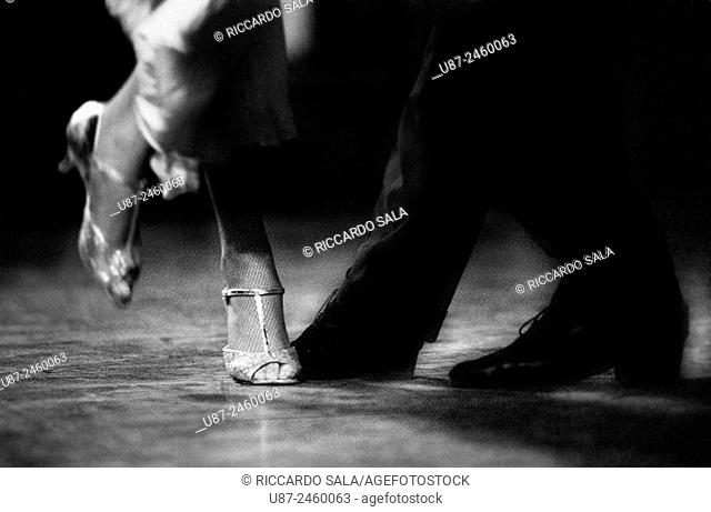 Feet Detail of Couple Dancing Argentinian Tango. . .