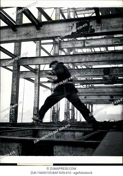 1968 - Believe It Or Not: But It's True - It's Safer To Jump Than To 'Tight Robe' Walk Along A Girder In Windy Weather: Jim Roache, seven stories up