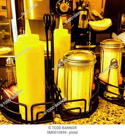 Condiment rack at restaurant