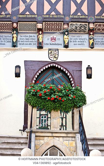 Detail of the historic town hall in Wernigerode, Saxony-Anhalt, Germany, Europe