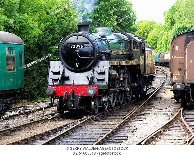 Steam engine 73096 on the Mid Hants Railway the Watercress Line at Alresford Station, Hampshire, England