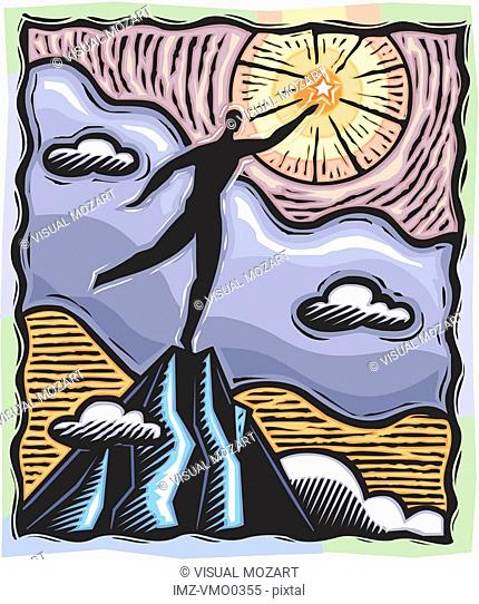 Person standing on a mountain and reaching for a star