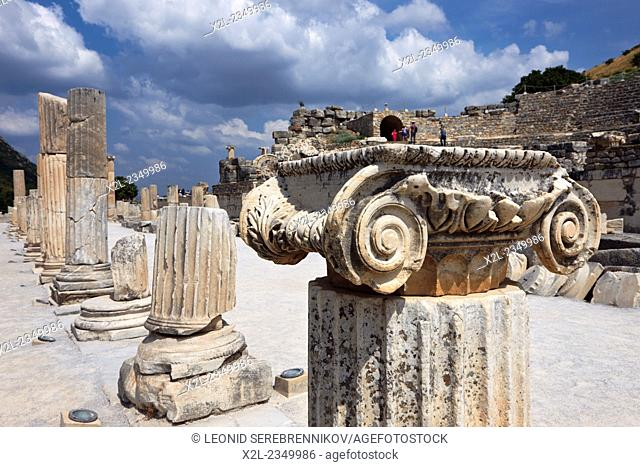 The Basilica Stoa (Royal Colonnade). Ephesus Archaeological Site, Izmir province, Turkey