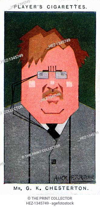 GK Chesterton, British poet, novelist and critic, 1926. Portrait of Gilbert Keith Chesterton (1874-1936). Cigarette card with straight-line caricature