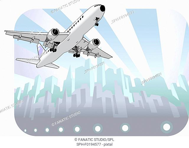 Airplane taking off, illustration