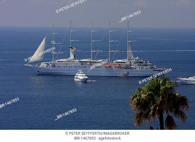 Wind Surf sail cruise ship in Monaco, Principality of Monaco, the Cote d'Azur, Europe