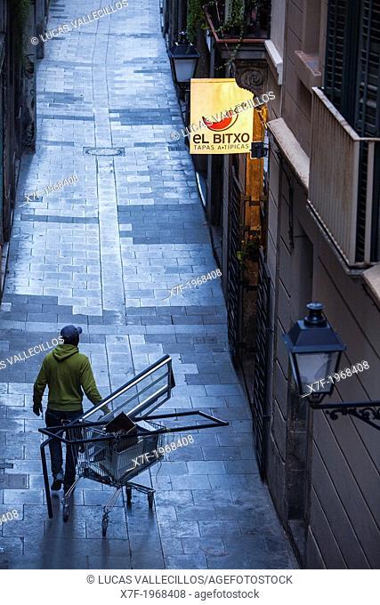 Junkman in Verdaguer i Callis street, Barcelona, Spain
