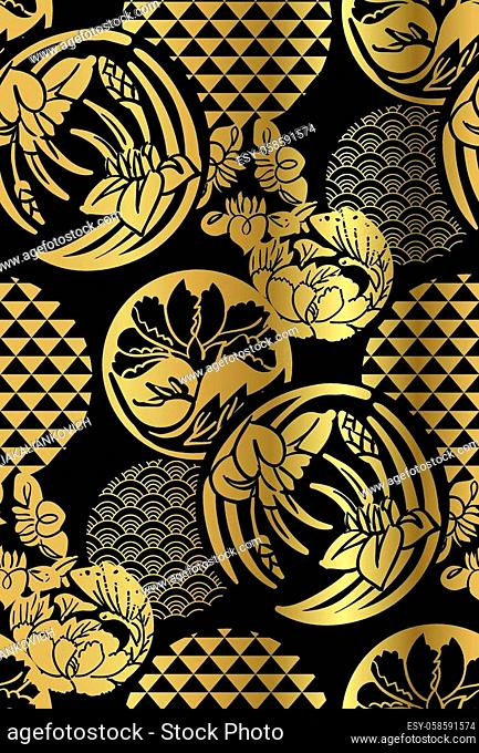 japanese chinese vector design seamless pattern heraldic badge